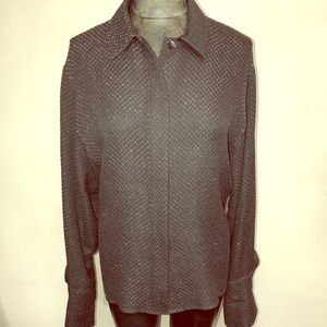 Vintage Chloe Textured Silk French Cuff Blouse